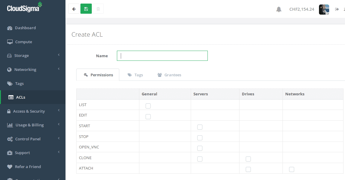 Create an ACL for your cloud infrastructure