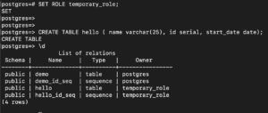 create table with temporary_role